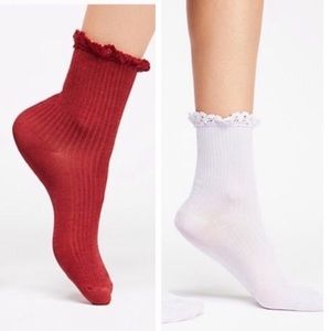 Free People Lace Ribbed Sock Bundle NWT